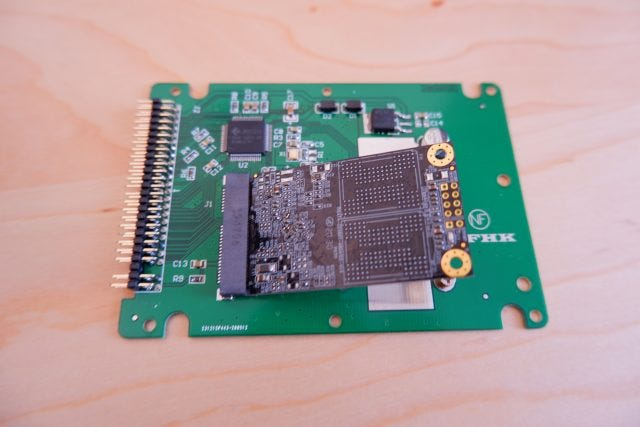An mSATA-to-IDE adapter.