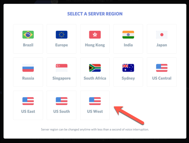 """O menu """"Selecionar uma região do servidor""""."""