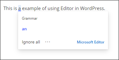 Editor in action in WordPress