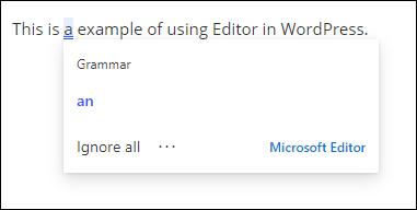Editor en acción en WordPress