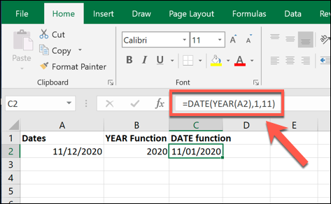 An example DATE formula value, created using the value created by a YEAR formula in Excel