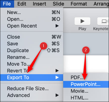 """Hover over """"Export To,"""" and then click """"PowerPoint."""""""