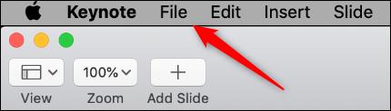 """Click """"File"""" in Keynote."""