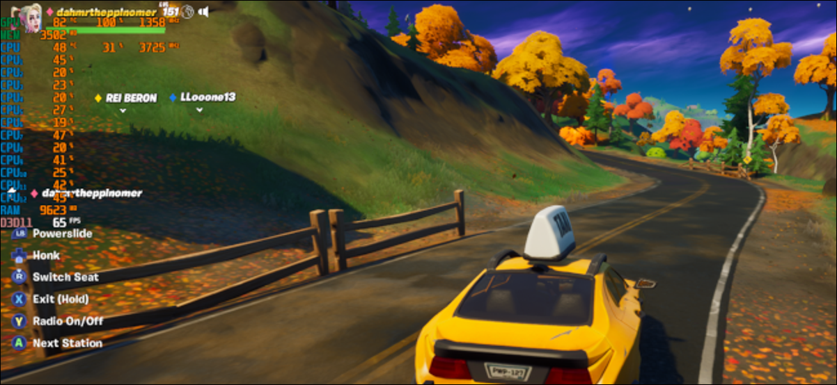 "A yellow taxi driving down a rolling autumn country road in ""Fortnite."""