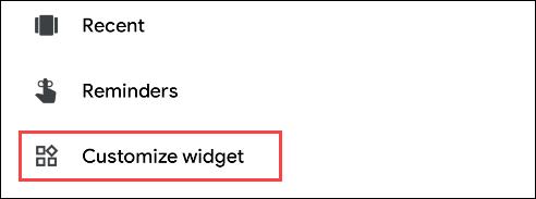 """Seleccione """"Personalizar widget""""."""