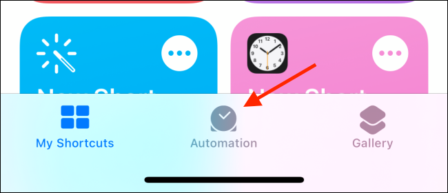 Go to the Automation tab in Shortcuts