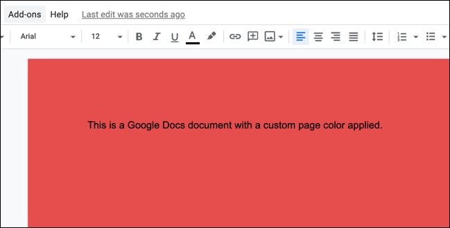 An example of a custom page color Google Docs document