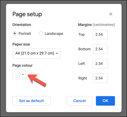 Touch the circle in the Google Docs Page Setup menu