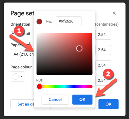 Use the color matching tool to select a new page color, then press OK to save.