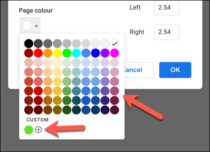 "Select a preset color from the ""Page Color"" drop-down menu, or press the add button in the ""Custom"" section."