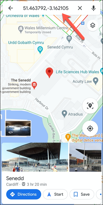 The GPS coordinates for the Welsh Parliament, UK in the Google Maps app on Android.