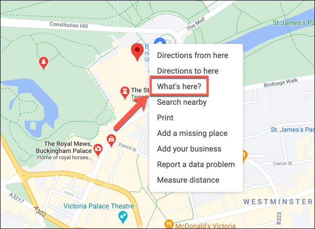 "Right-click a location in Google Maps, then press ""What's here?"" to view the coordinates."