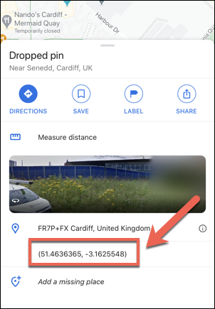 The coordinates for the Welsh Parliament, UK, as shown in the Google Maps app on iPhone.