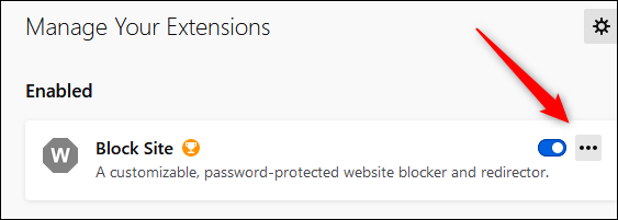 """Click the three dots next to """"Block Site."""""""