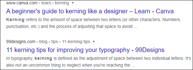 "Results for ""kerning"" in Google Search."