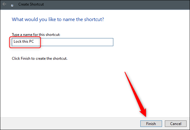 Name the desktop shortcut
