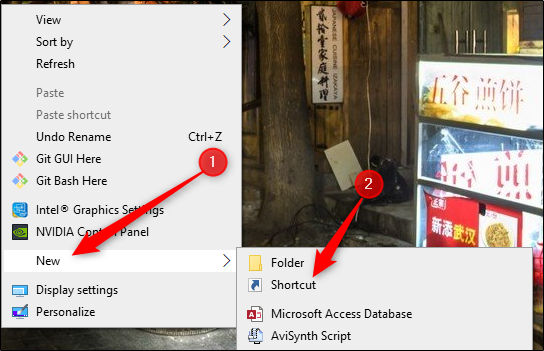 New shortcut from right-click menu on desktop