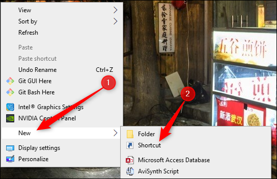 New shortcut from right-click menu on desktop