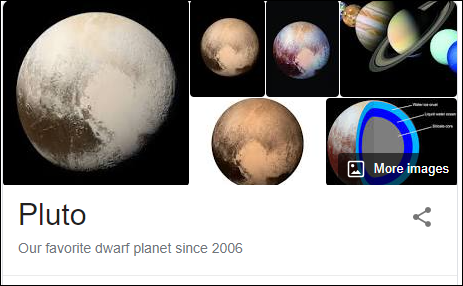 "Search results for ""Pluto"" in Google Search."
