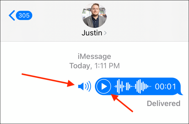 Press Play or Volume button to hear the voice message
