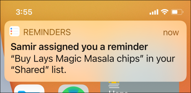 "A ""Reminders"" notification of an assigned task."