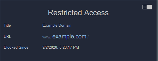 """The """"Restricted Access"""" message in Firefox."""