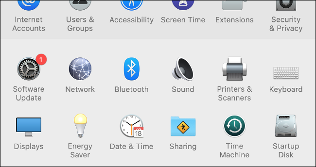 Software update in the MacOS system settings