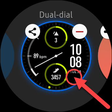 tap and hold on watch face