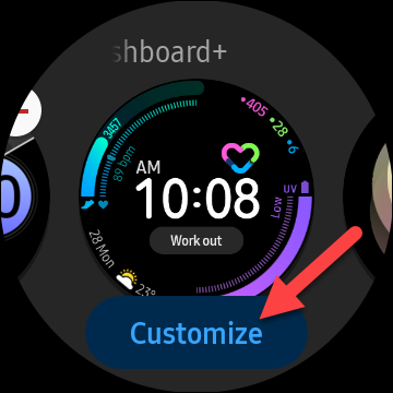 """Tap the """"Customize"""" button if it's available to change up the look of the watch face"""