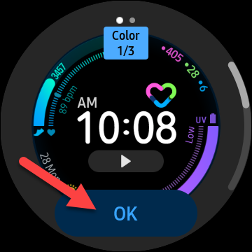 """Tap """"OK"""" to confirm you want to use the customized watch face"""