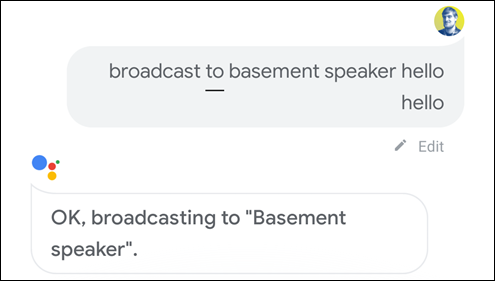 broadcast to speaker