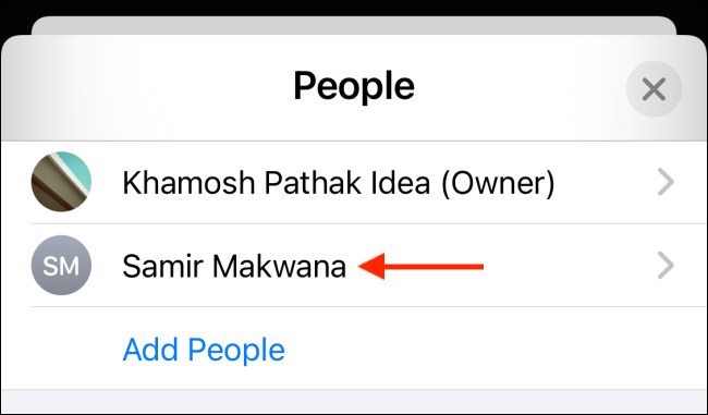 """Select a contact from the """"People"""" list."""