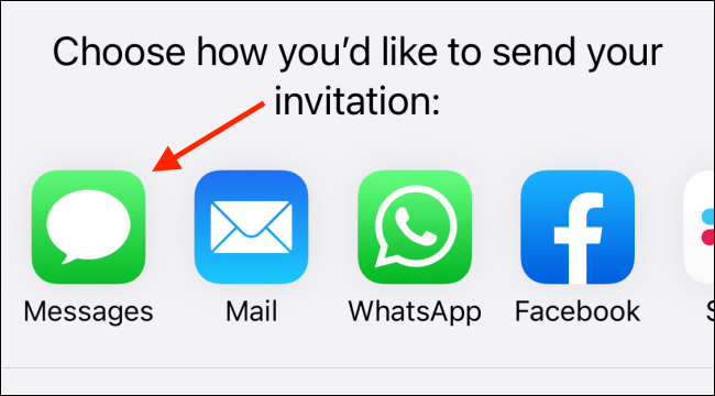 """Tap """"Messages"""" to send an invitation."""