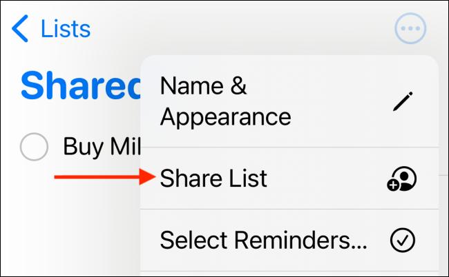 "Tap ""Share List."""