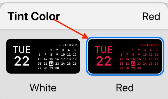 Seleccione el color de tinte en Widgetsmith