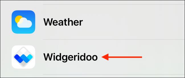 Select Widgeridoo from the List