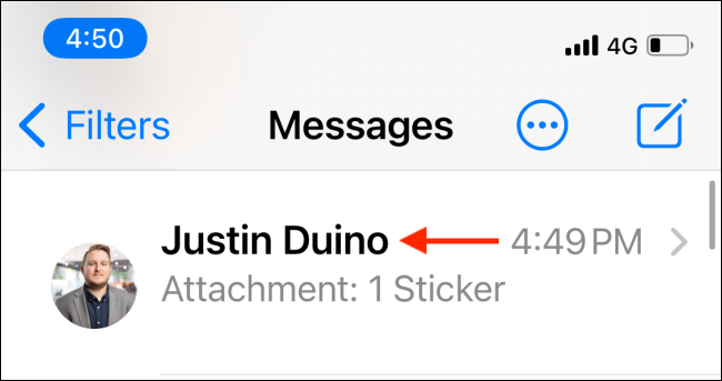 Select a Conversation in Messages
