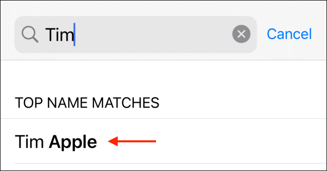 Select contact from search results