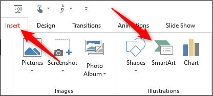 SmartArt option in the Illustrations group