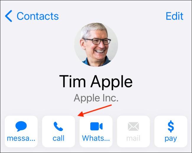Toque Llamar para llamar al contacto