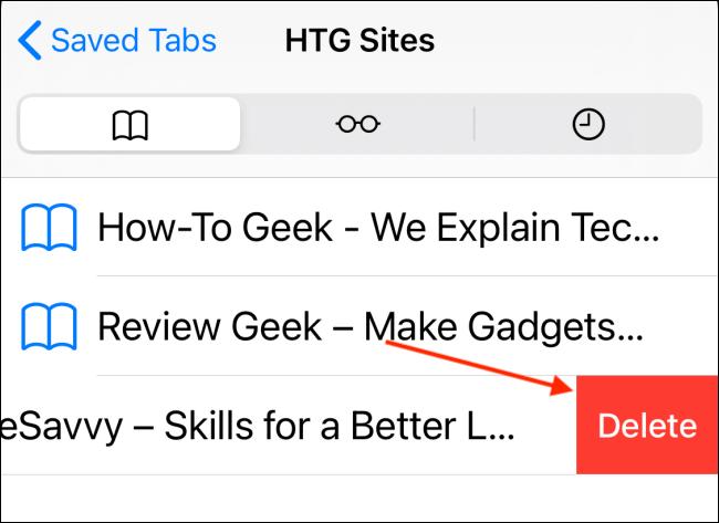 Tap Delete from Bookmarks Folder