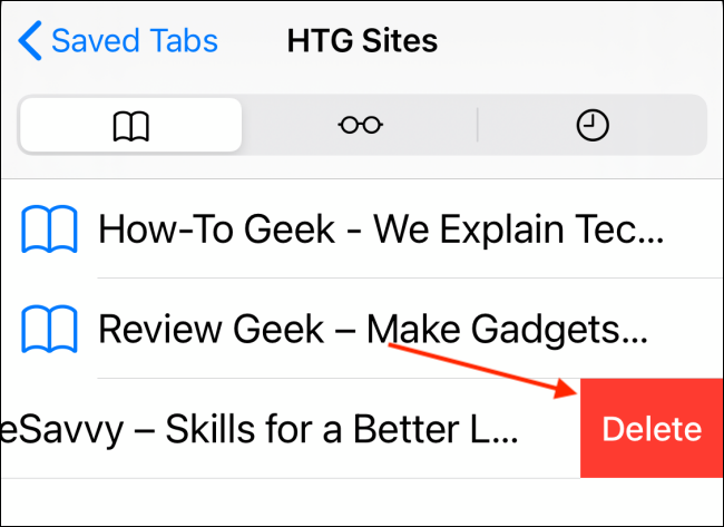Tap Delete from Bookmarks Folder