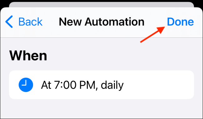 Tap Done To Save Automation