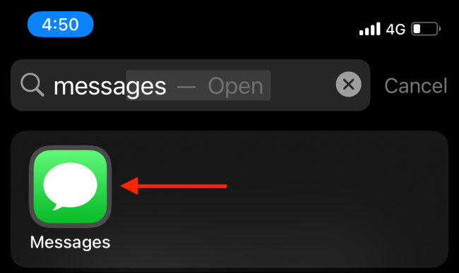 Tap Messages From Spotlight Search