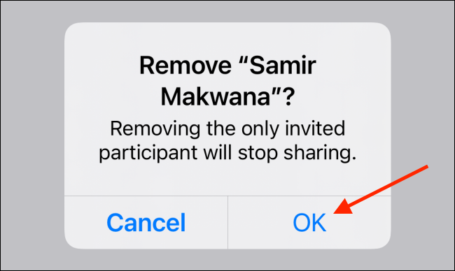 """Tap """"OK"""" to confirm and remove a contact from a shared list."""