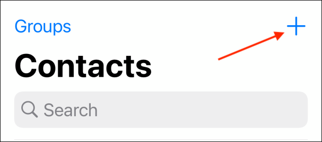 Tap Plus button from Contacts tab