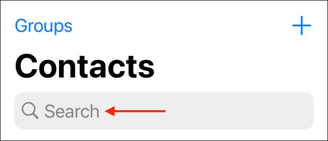 Toque la barra de búsqueda en la pestaña Contactos