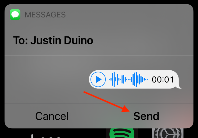 "Tap ""Send"" to send your voice message"