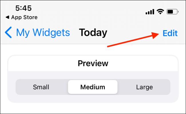 Toque el botón Editar en el widget Widgeridoo