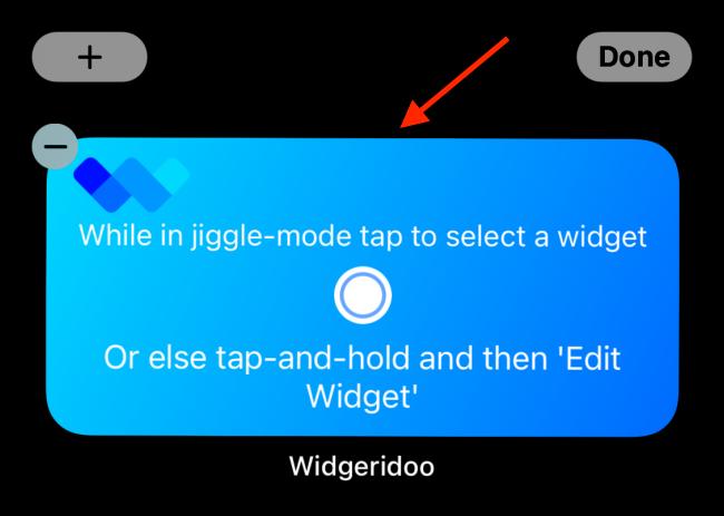 Toque el widget Widgeridoo después de agregarlo